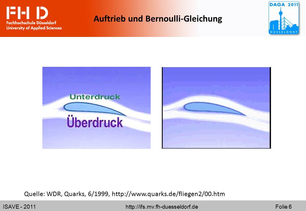 ISAVE - 2011 http://ifs.mv.fh-duesseldorf.de Folie 6 Auftrieb und Bernoulli-Gleichung Quelle: WDR, Quarks, 6/1999, http://www.quarks.de/fliegen2/00.ht