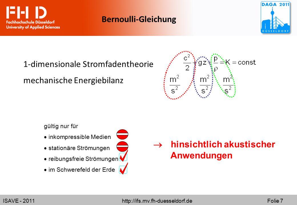 ISAVE - 2011 http://ifs.mv.fh-duesseldorf.de Folie 7 Bernoulli-Gleichung 1-dimensionale Stromfadentheorie mechanische Energiebilanz gültig nur für  i