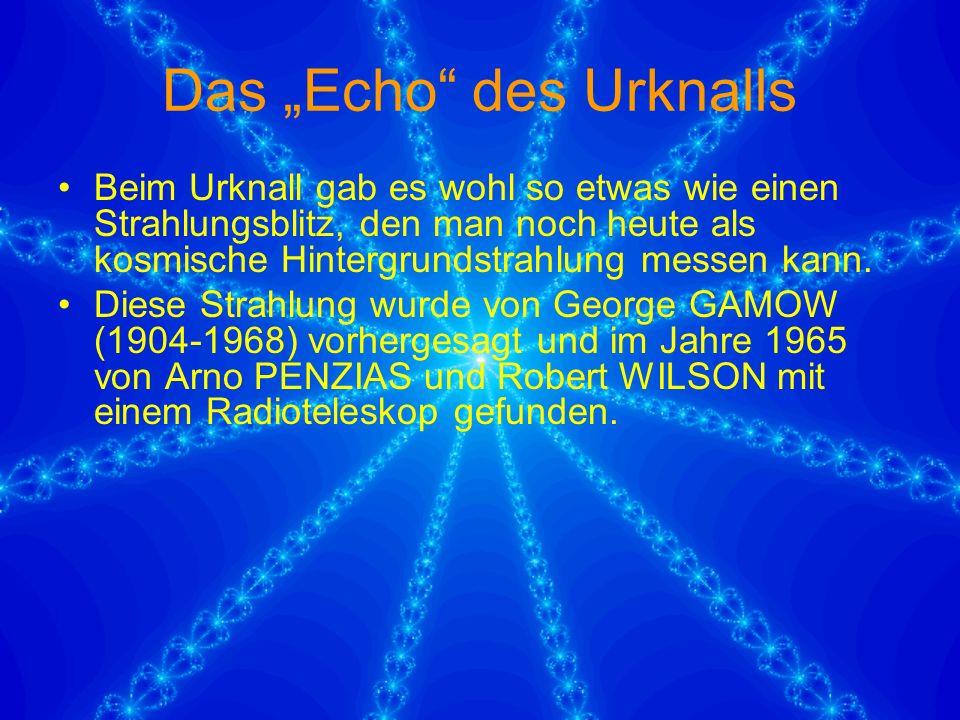 """Das """"Echo des Urknalls Beim Urknall gab es wohl so etwas wie einen Strahlungsblitz, den man noch heute als kosmische Hintergrundstrahlung messen kann."""