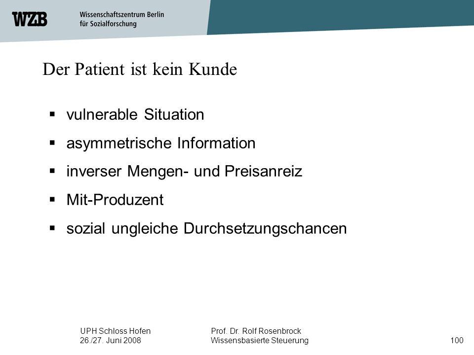 UPH Schloss Hofen 26./27. Juni 2008 Prof. Dr. Rolf Rosenbrock Wissensbasierte Steuerung100 Der Patient ist kein Kunde  vulnerable Situation  asymmet