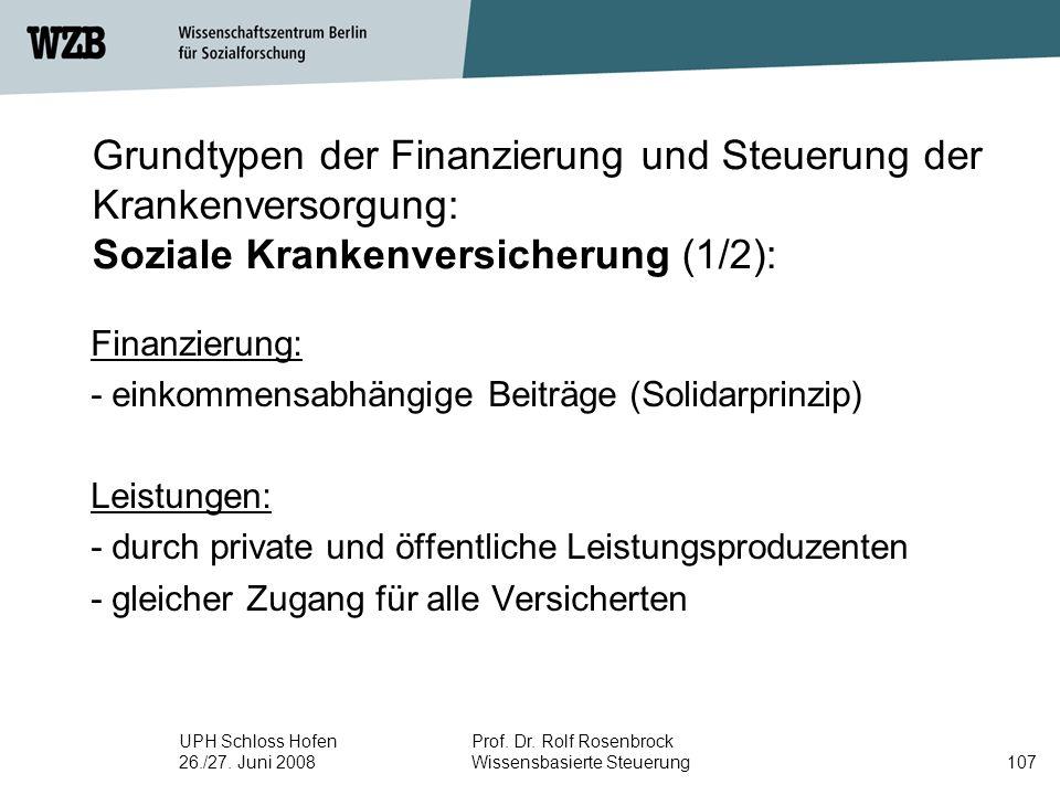 UPH Schloss Hofen 26./27. Juni 2008 Prof. Dr. Rolf Rosenbrock Wissensbasierte Steuerung107 Grundtypen der Finanzierung und Steuerung der Krankenversor