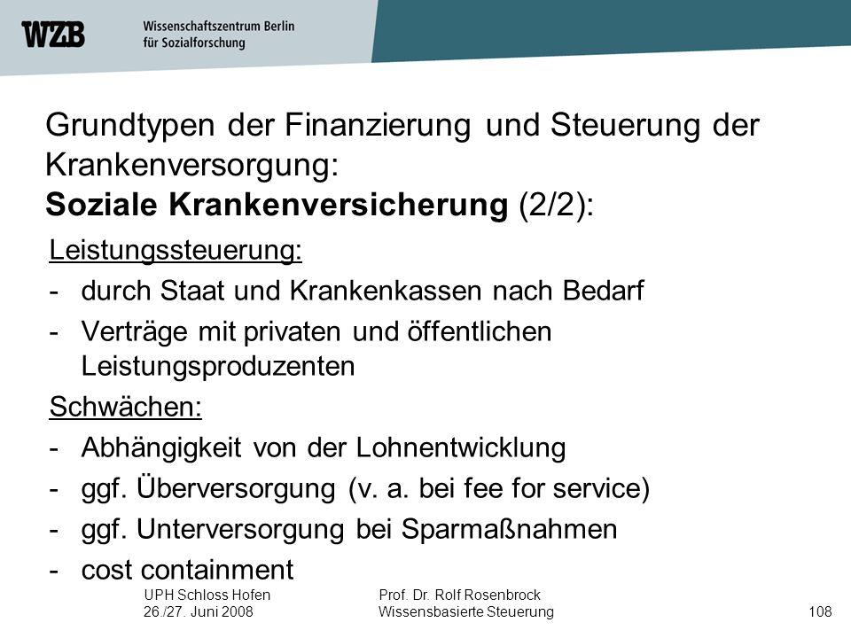 UPH Schloss Hofen 26./27. Juni 2008 Prof. Dr. Rolf Rosenbrock Wissensbasierte Steuerung108 Grundtypen der Finanzierung und Steuerung der Krankenversor