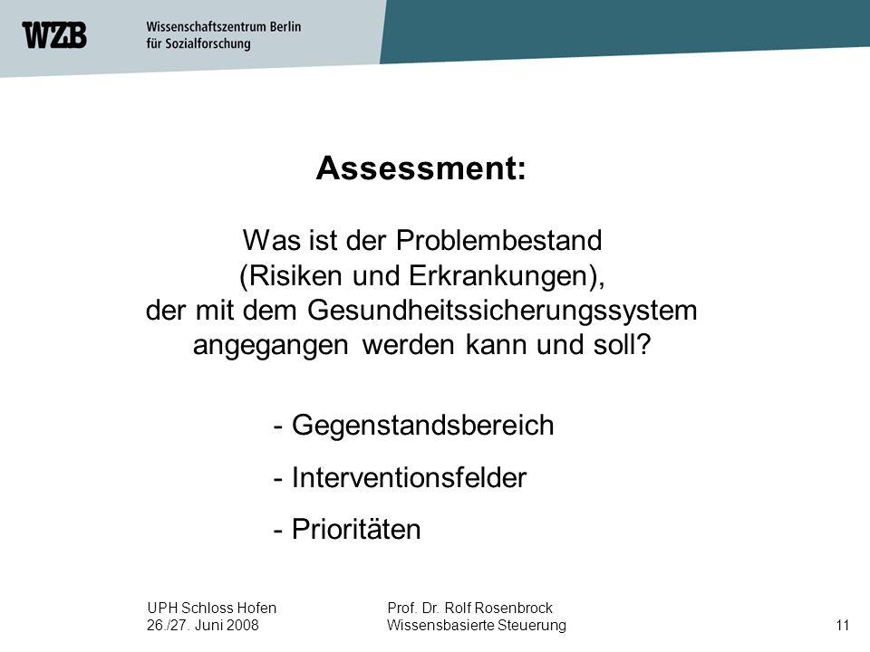 UPH Schloss Hofen 26./27. Juni 2008 Prof. Dr. Rolf Rosenbrock Wissensbasierte Steuerung11 Assessment: Was ist der Problembestand (Risiken und Erkranku
