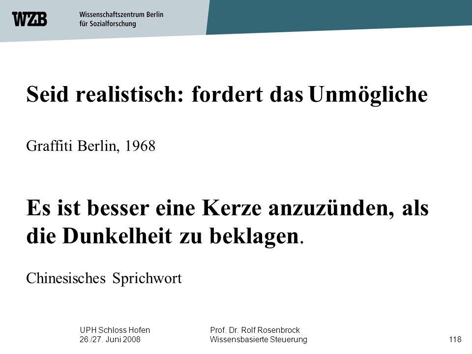UPH Schloss Hofen 26./27. Juni 2008 Prof. Dr. Rolf Rosenbrock Wissensbasierte Steuerung118 Seid realistisch: fordert das Unmögliche Graffiti Berlin, 1