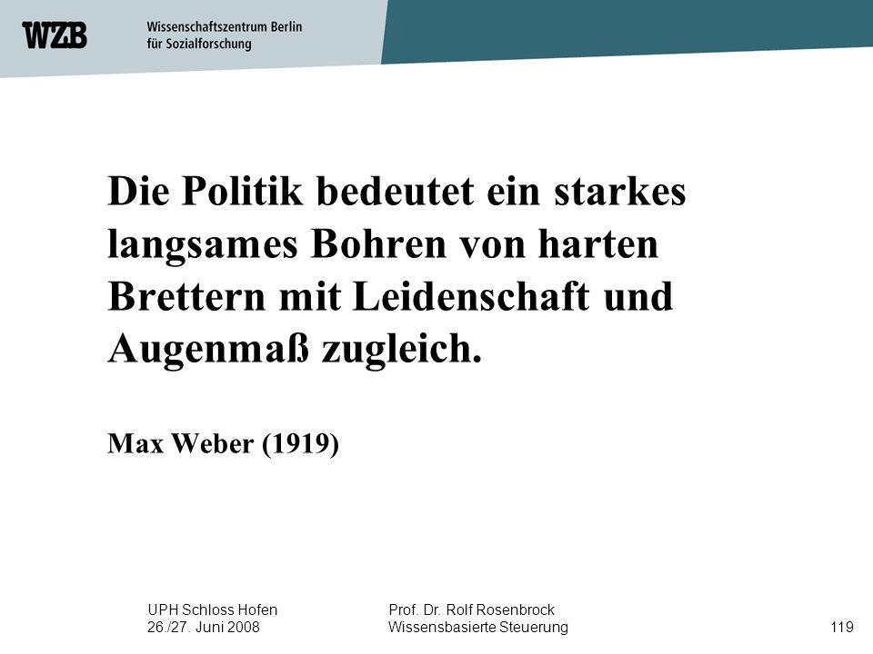 UPH Schloss Hofen 26./27. Juni 2008 Prof. Dr. Rolf Rosenbrock Wissensbasierte Steuerung119 Die Politik bedeutet ein starkes langsames Bohren von harte