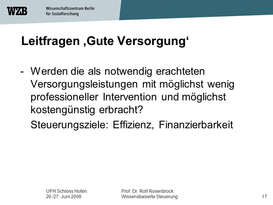 UPH Schloss Hofen 26./27. Juni 2008 Prof. Dr. Rolf Rosenbrock Wissensbasierte Steuerung17 Leitfragen 'Gute Versorgung' -Werden die als notwendig erach
