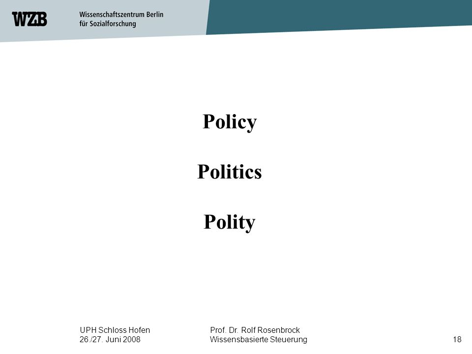 UPH Schloss Hofen 26./27. Juni 2008 Prof. Dr. Rolf Rosenbrock Wissensbasierte Steuerung18 Policy Politics Polity