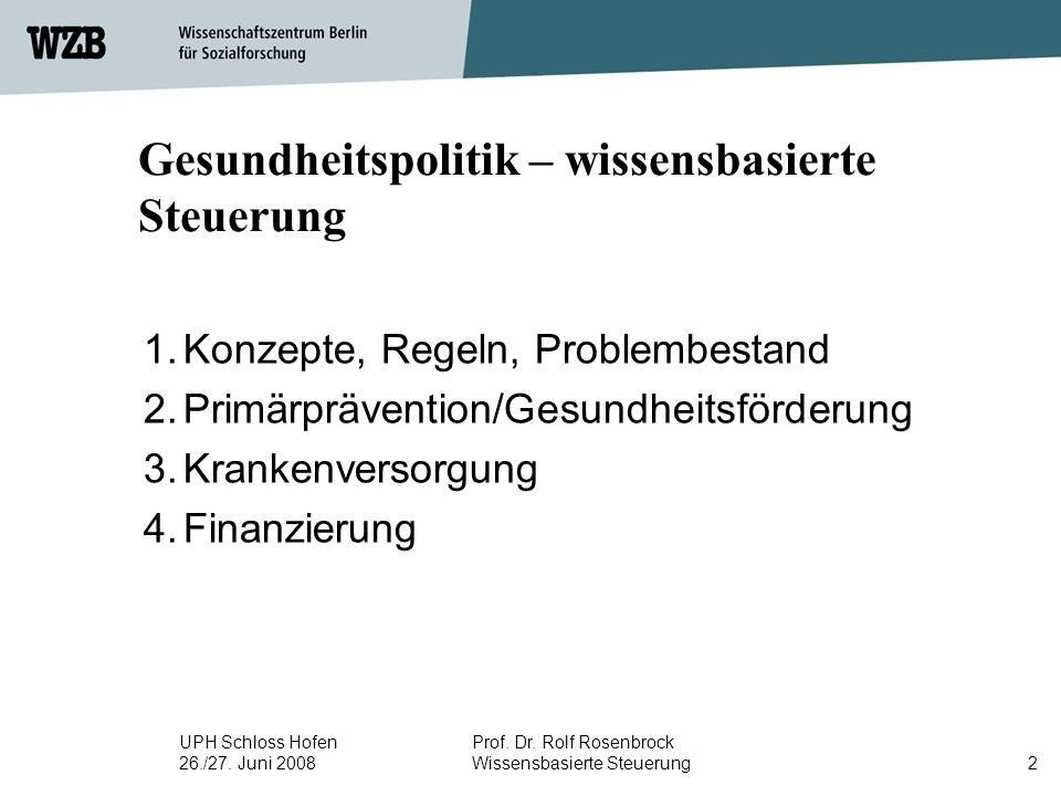 UPH Schloss Hofen 26./27. Juni 2008 Prof. Dr. Rolf Rosenbrock Wissensbasierte Steuerung2 Gesundheitspolitik – wissensbasierte Steuerung 1.Konzepte, Re