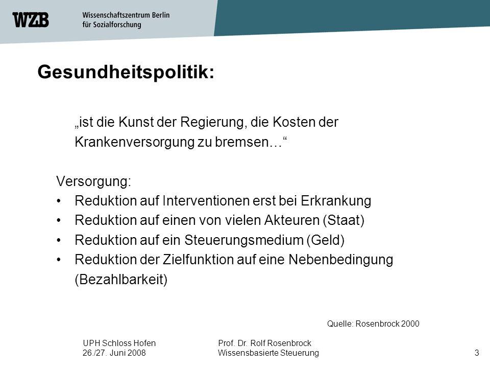 "UPH Schloss Hofen 26./27. Juni 2008 Prof. Dr. Rolf Rosenbrock Wissensbasierte Steuerung3 Gesundheitspolitik: Quelle: Rosenbrock 2000 ""ist die Kunst de"