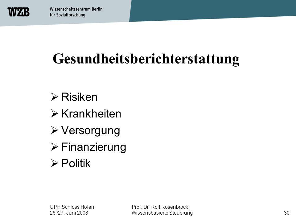 UPH Schloss Hofen 26./27. Juni 2008 Prof. Dr. Rolf Rosenbrock Wissensbasierte Steuerung30 Gesundheitsberichterstattung  Risiken  Krankheiten  Verso