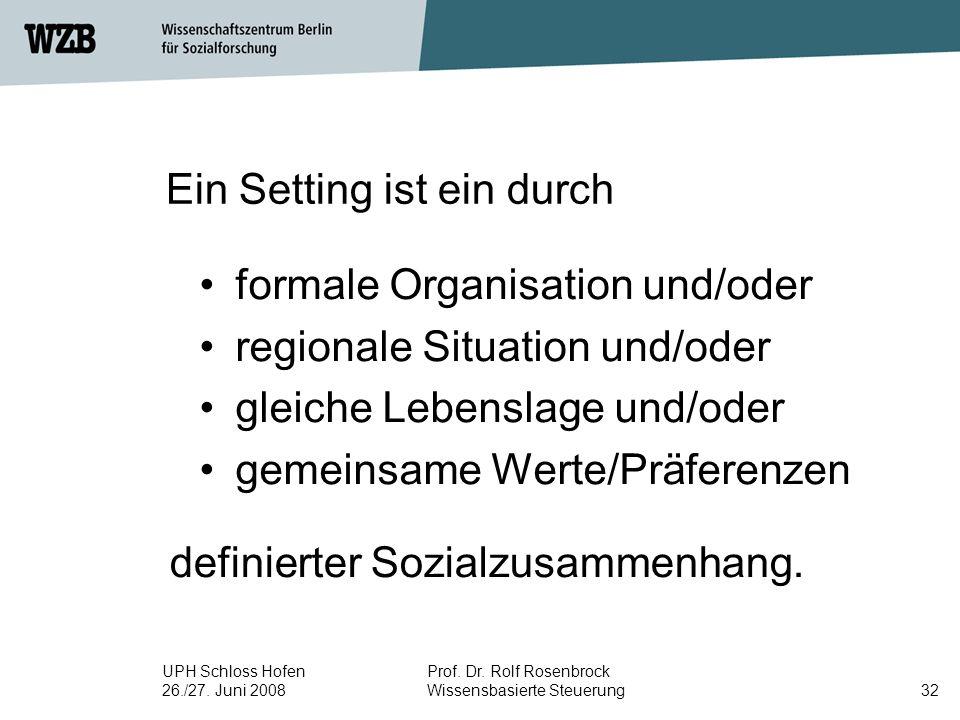 UPH Schloss Hofen 26./27. Juni 2008 Prof. Dr. Rolf Rosenbrock Wissensbasierte Steuerung32 Ein Setting ist ein durch formale Organisation und/oder regi