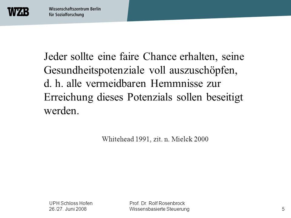 UPH Schloss Hofen 26./27. Juni 2008 Prof. Dr. Rolf Rosenbrock Wissensbasierte Steuerung5 Jeder sollte eine faire Chance erhalten, seine Gesundheitspot