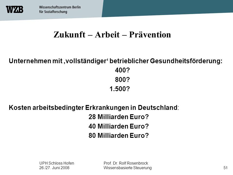 UPH Schloss Hofen 26./27. Juni 2008 Prof. Dr. Rolf Rosenbrock Wissensbasierte Steuerung51 Zukunft – Arbeit – Prävention Unternehmen mit,vollständiger'