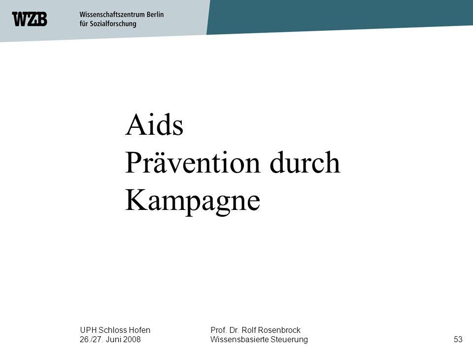 UPH Schloss Hofen 26./27. Juni 2008 Prof. Dr. Rolf Rosenbrock Wissensbasierte Steuerung53 Aids Prävention durch Kampagne