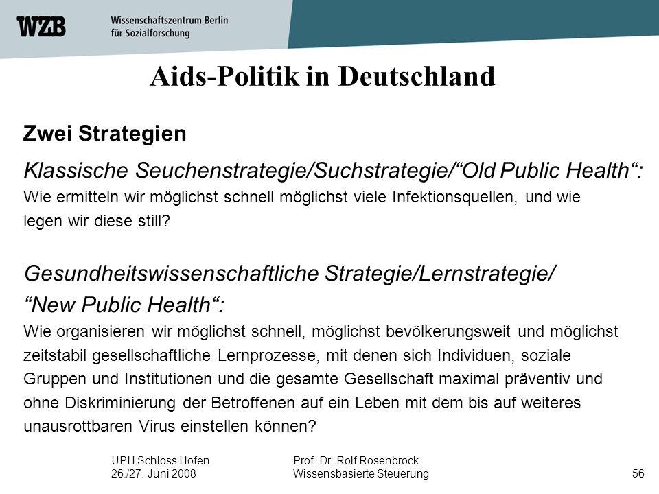 UPH Schloss Hofen 26./27. Juni 2008 Prof. Dr. Rolf Rosenbrock Wissensbasierte Steuerung56 Aids-Politik in Deutschland Zwei Strategien Klassische Seuch