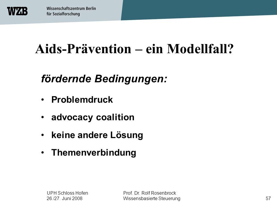 UPH Schloss Hofen 26./27. Juni 2008 Prof. Dr. Rolf Rosenbrock Wissensbasierte Steuerung57 Aids-Prävention – ein Modellfall? fördernde Bedingungen: Pro