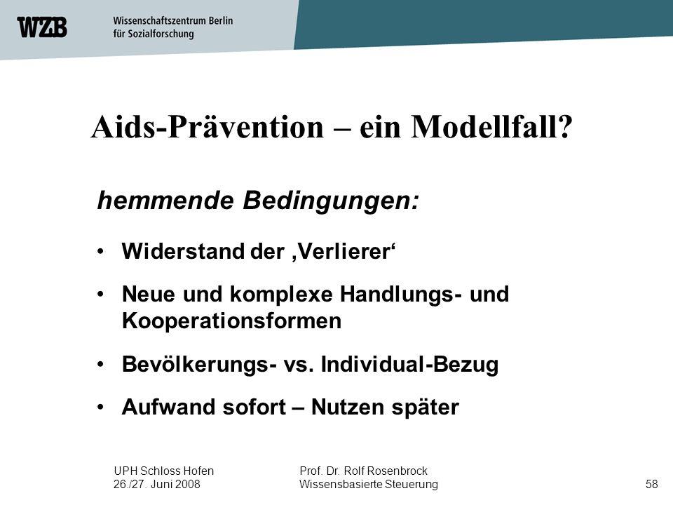UPH Schloss Hofen 26./27. Juni 2008 Prof. Dr. Rolf Rosenbrock Wissensbasierte Steuerung58 Aids-Prävention – ein Modellfall? hemmende Bedingungen: Wide
