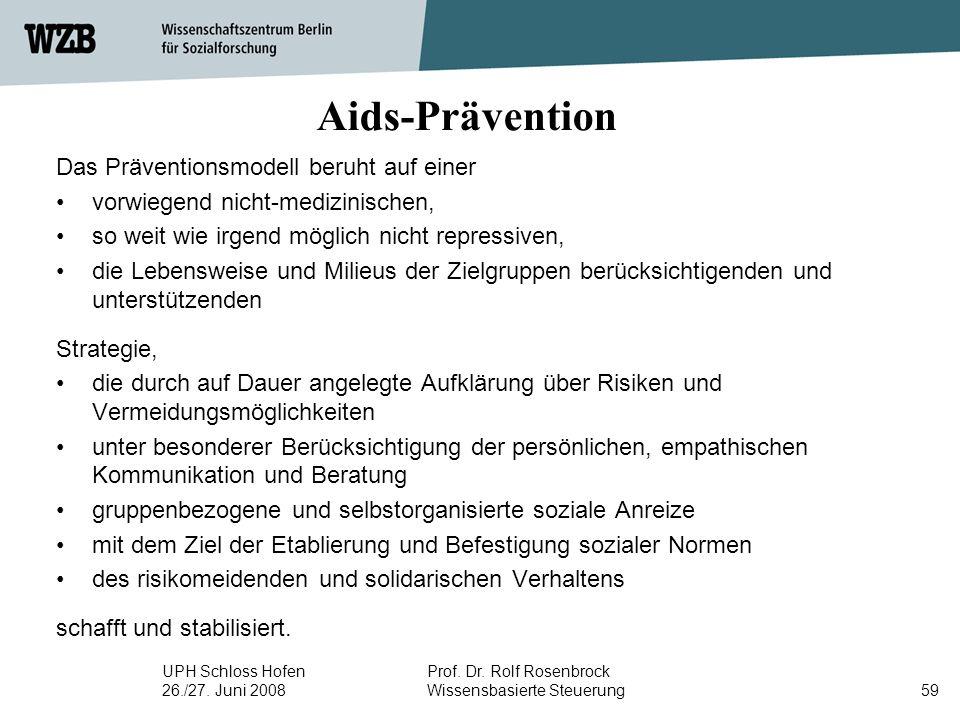 UPH Schloss Hofen 26./27. Juni 2008 Prof. Dr. Rolf Rosenbrock Wissensbasierte Steuerung59 Aids-Prävention Das Präventionsmodell beruht auf einer vorwi