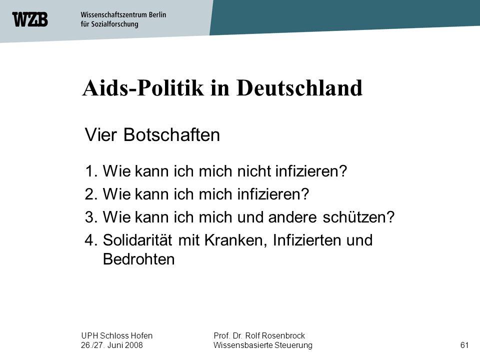 UPH Schloss Hofen 26./27. Juni 2008 Prof. Dr. Rolf Rosenbrock Wissensbasierte Steuerung61 Aids-Politik in Deutschland Vier Botschaften 1.Wie kann ich