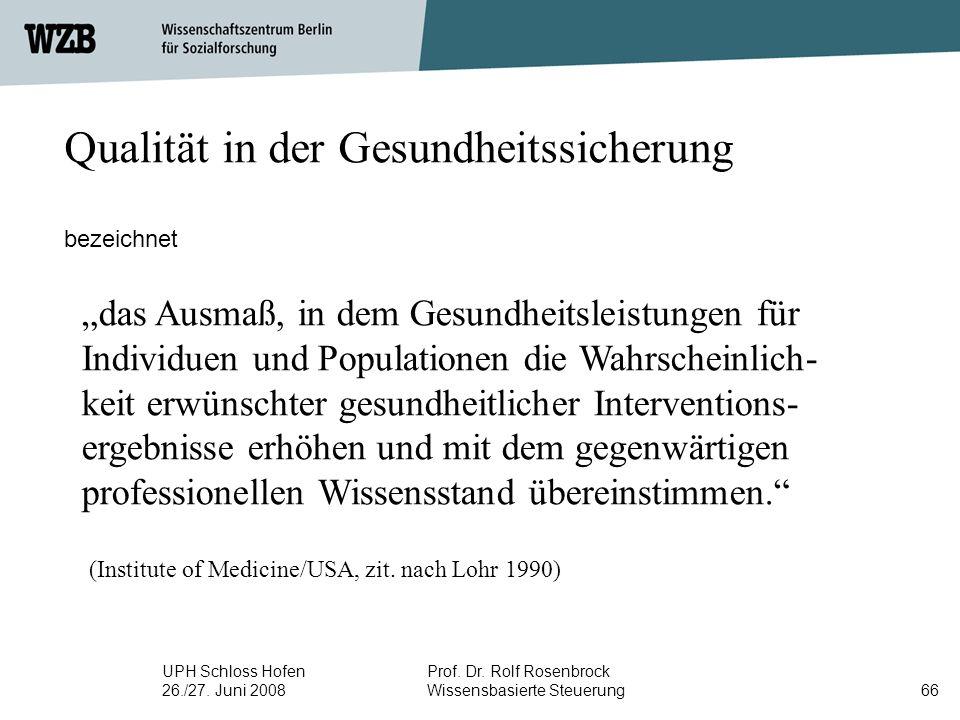 """UPH Schloss Hofen 26./27. Juni 2008 Prof. Dr. Rolf Rosenbrock Wissensbasierte Steuerung66 Qualität in der Gesundheitssicherung bezeichnet """"das Ausmaß,"""