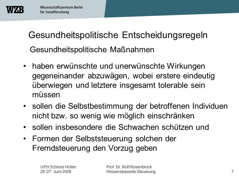 UPH Schloss Hofen 26./27. Juni 2008 Prof. Dr. Rolf Rosenbrock Wissensbasierte Steuerung7 Gesundheitspolitische Entscheidungsregeln haben erwünschte un