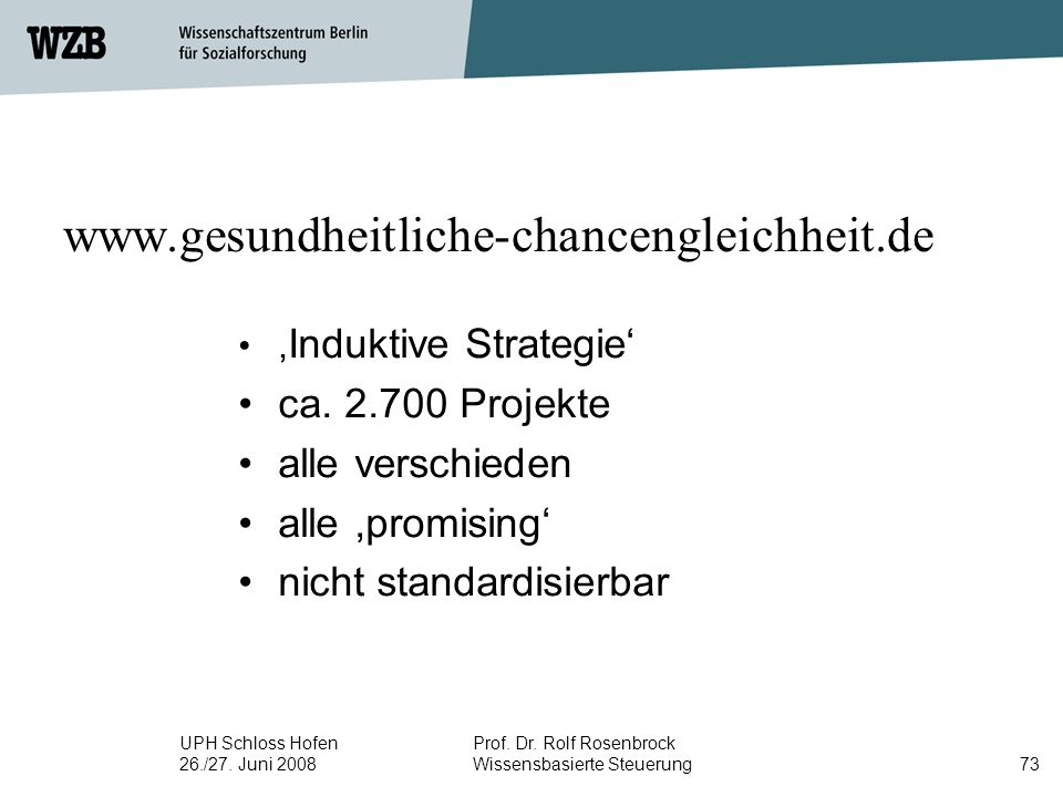 UPH Schloss Hofen 26./27. Juni 2008 Prof. Dr. Rolf Rosenbrock Wissensbasierte Steuerung73 www.gesundheitliche-chancengleichheit.de, Induktive Strategi