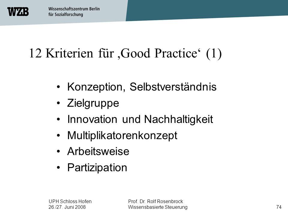 UPH Schloss Hofen 26./27. Juni 2008 Prof. Dr. Rolf Rosenbrock Wissensbasierte Steuerung74 12 Kriterien für,Good Practice' (1) Konzeption, Selbstverstä