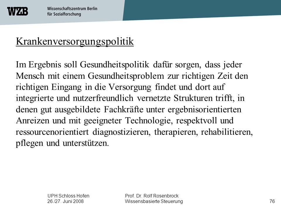 UPH Schloss Hofen 26./27. Juni 2008 Prof. Dr. Rolf Rosenbrock Wissensbasierte Steuerung76 Krankenversorgungspolitik Im Ergebnis soll Gesundheitspoliti