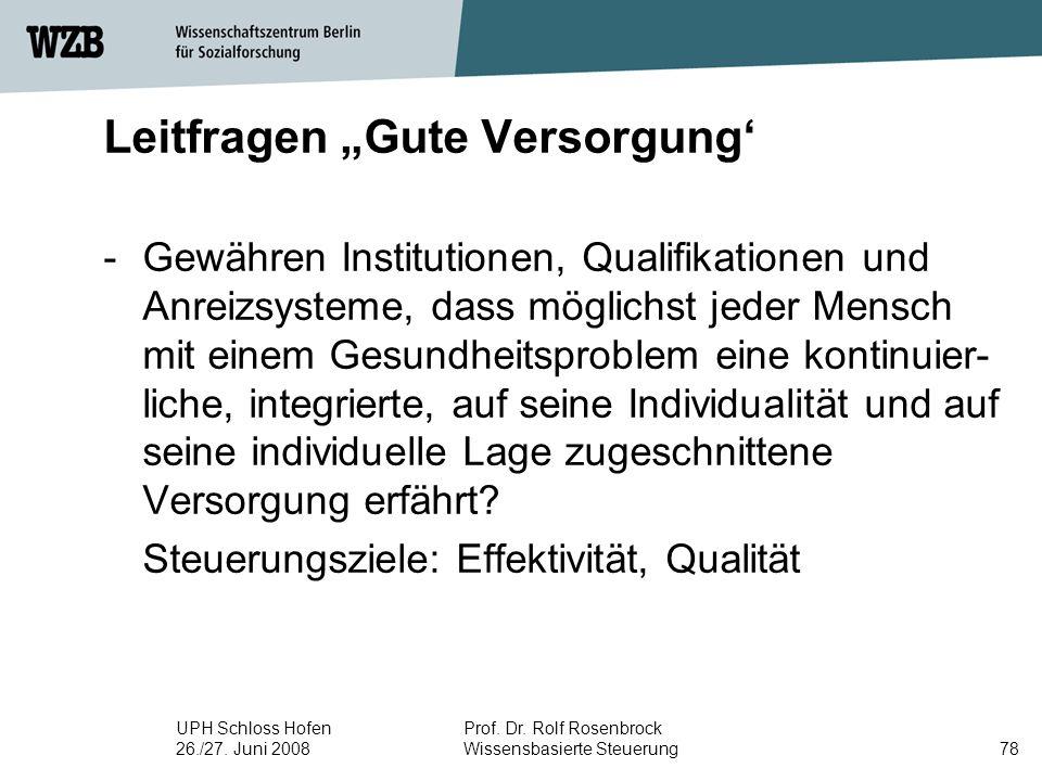 """UPH Schloss Hofen 26./27. Juni 2008 Prof. Dr. Rolf Rosenbrock Wissensbasierte Steuerung78 Leitfragen """"Gute Versorgung' -Gewähren Institutionen, Qualif"""