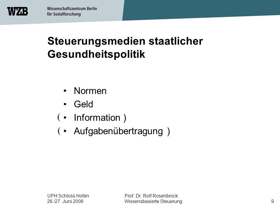 UPH Schloss Hofen 26./27. Juni 2008 Prof. Dr. Rolf Rosenbrock Wissensbasierte Steuerung9 Steuerungsmedien staatlicher Gesundheitspolitik Normen Geld I