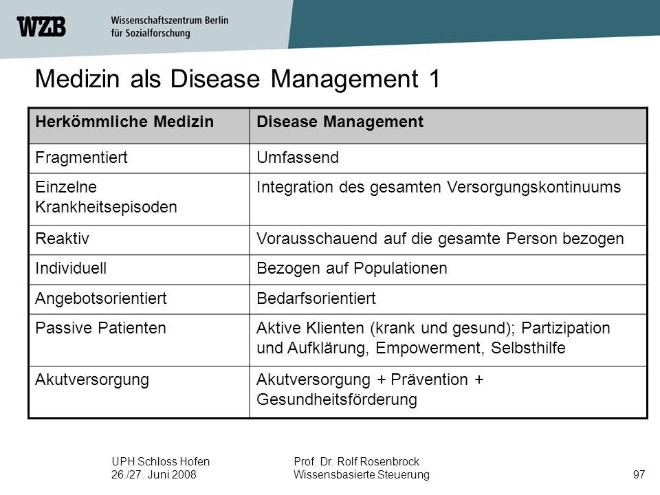 UPH Schloss Hofen 26./27. Juni 2008 Prof. Dr. Rolf Rosenbrock Wissensbasierte Steuerung97 Herkömmliche MedizinDisease Management FragmentiertUmfassend