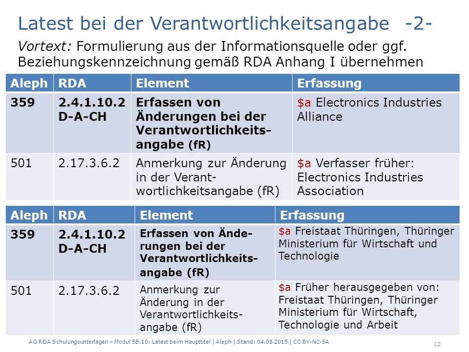 AG RDA Schulungsunterlagen – Modul 5B.10: Latest beim Haupttitel | Aleph | Stand: 04.08.2015 | CC BY-NC-SA 12 AlephRDAElementErfassung 3592.4.1.10.2 D-A-CH Erfassen von Änderungen bei der Verantwortlichkeits- angabe (fR) $a Electronics Industries Alliance 5012.17.3.6.2Anmerkung zur Änderung in der Verant- wortlichkeitsangabe (fR) $a Verfasser früher: Electronics Industries Association Latest bei der Verantwortlichkeitsangabe -2- Vortext: Formulierung aus der Informationsquelle oder ggf.