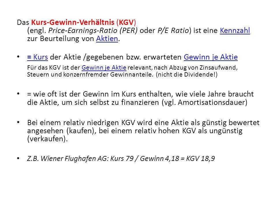 Das Kurs-Gewinn-Verhältnis (KGV) (engl.