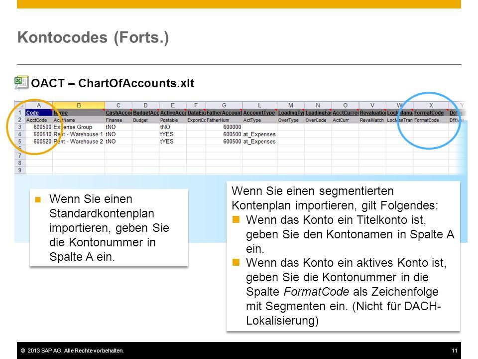 ©2013 SAP AG. Alle Rechte vorbehalten.11 Kontocodes (Forts.) Wenn Sie einen Standardkontenplan importieren, geben Sie die Kontonummer in Spalte A ein.