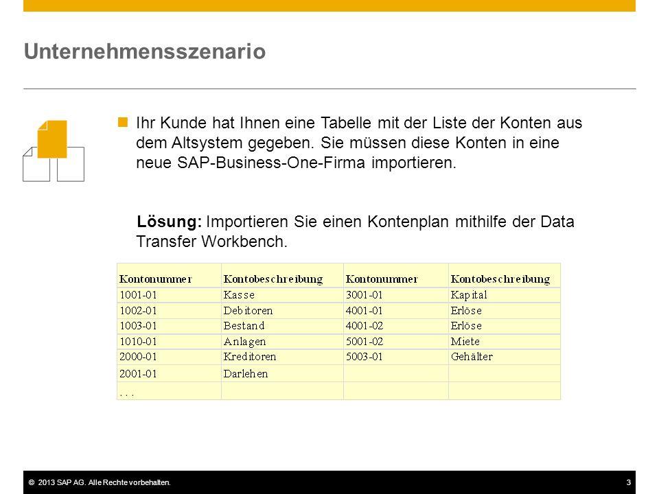 ©2013 SAP AG. Alle Rechte vorbehalten.3 Ihr Kunde hat Ihnen eine Tabelle mit der Liste der Konten aus dem Altsystem gegeben. Sie müssen diese Konten i