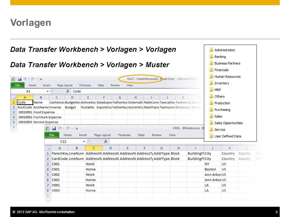 ©2013 SAP AG. Alle Rechte vorbehalten.5 Vorlagen Data Transfer Workbench > Vorlagen > Vorlagen Data Transfer Workbench > Vorlagen > Muster