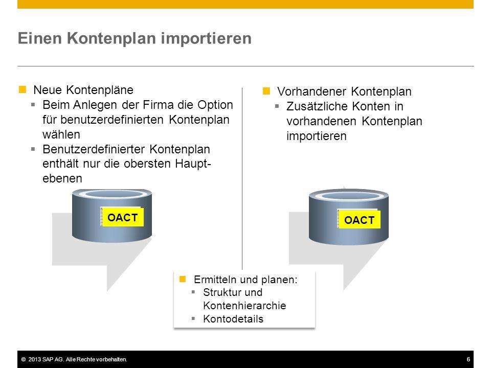 ©2013 SAP AG. Alle Rechte vorbehalten.6 Einen Kontenplan importieren OACT Neue Kontenpläne  Beim Anlegen der Firma die Option für benutzerdefinierten