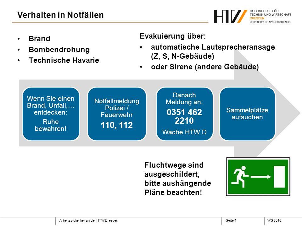 Arbeitssicherheit an der HTW DresdenWS 2015Seite 4 Verhalten in Notfällen Wenn Sie einen Brand, Unfall,… entdecken: Ruhe bewahren.