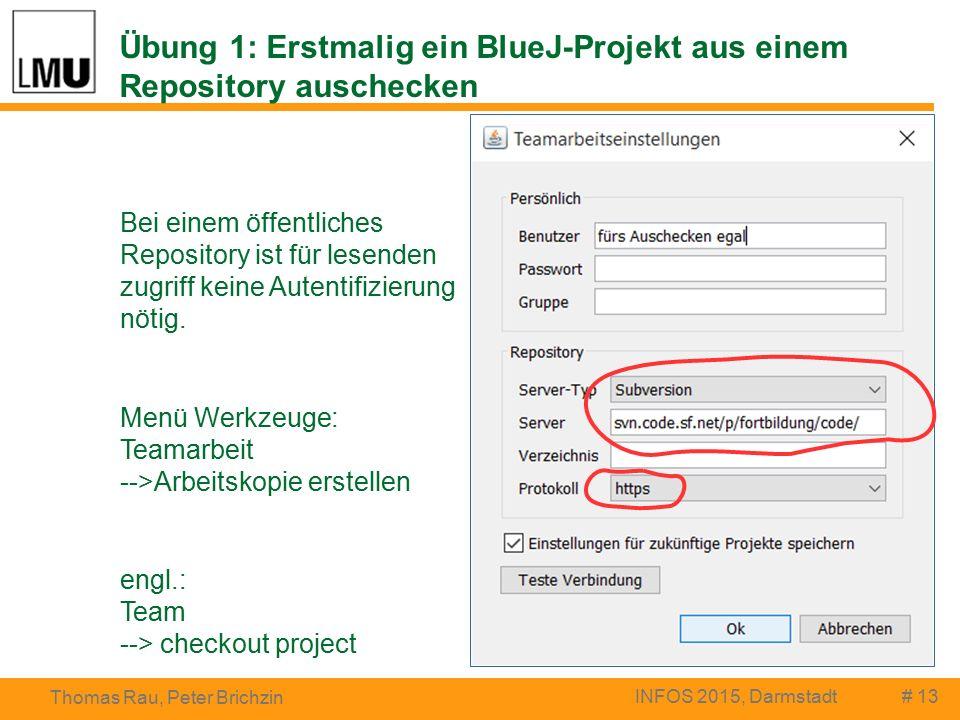 Übung 1: Erstmalig ein BlueJ-Projekt aus einem Repository auschecken # 13 Thomas Rau, Peter Brichzin INFOS 2015, Darmstadt Bei einem öffentliches Repository ist für lesenden zugriff keine Autentifizierung nötig.