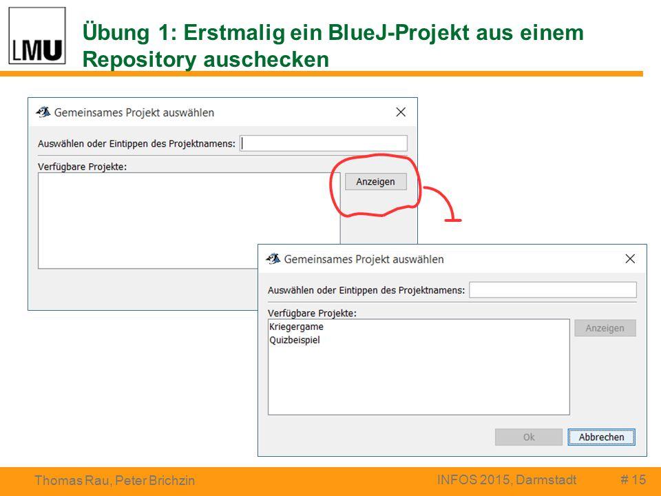 Übung 1: Erstmalig ein BlueJ-Projekt aus einem Repository auschecken # 15 Thomas Rau, Peter Brichzin INFOS 2015, Darmstadt