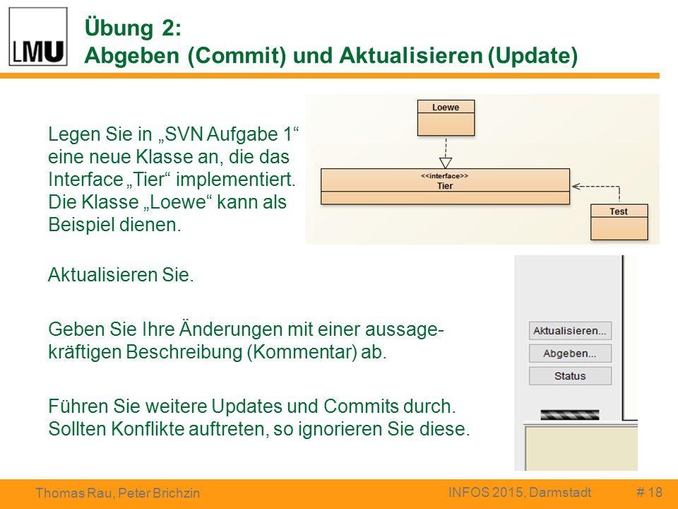 """# 18 Thomas Rau, Peter Brichzin INFOS 2015, Darmstadt Legen Sie in """"SVN Aufgabe 1 eine neue Klasse an, die das Interface """"Tier implementiert."""