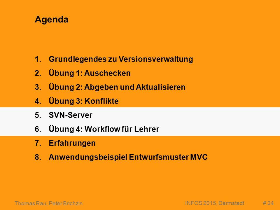 # 24 Thomas Rau, Peter Brichzin INFOS 2015, Darmstadt Agenda 1.Grundlegendes zu Versionsverwaltung 2.Übung 1: Auschecken 3.Übung 2: Abgeben und Aktualisieren 4.Übung 3: Konflikte 5.SVN-Server 6.Übung 4: Workflow für Lehrer 7.Erfahrungen 8.Anwendungsbeispiel Entwurfsmuster MVC