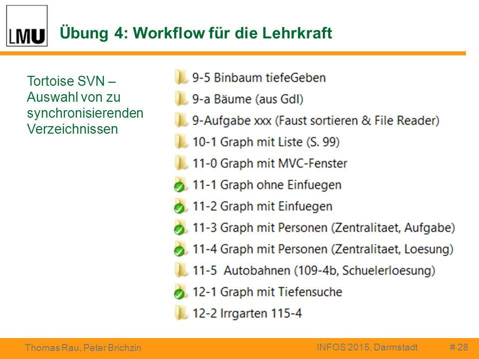 Übung 4: Workflow für die Lehrkraft # 28 Thomas Rau, Peter Brichzin INFOS 2015, Darmstadt Tortoise SVN – Auswahl von zu synchronisierenden Verzeichnissen