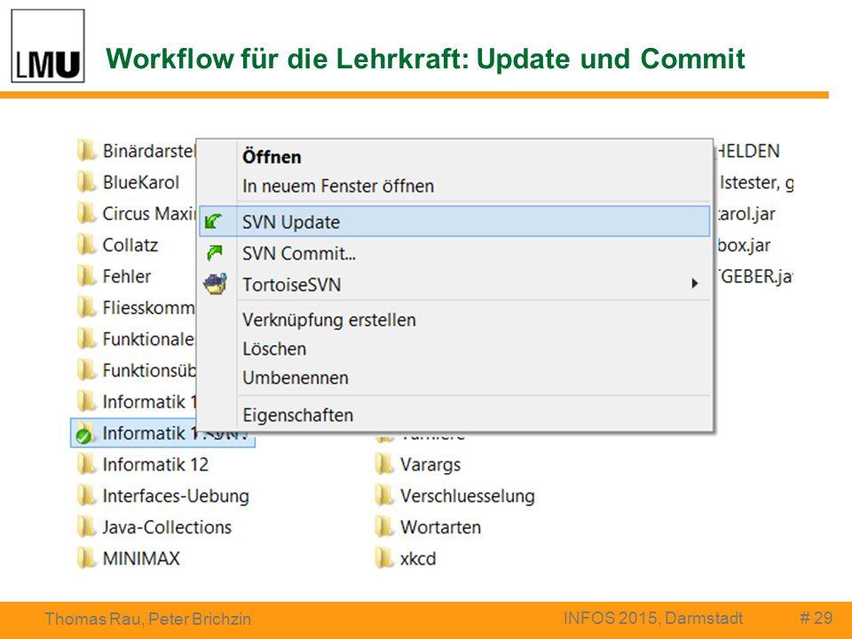 Workflow für die Lehrkraft: Update und Commit # 29 Thomas Rau, Peter Brichzin INFOS 2015, Darmstadt