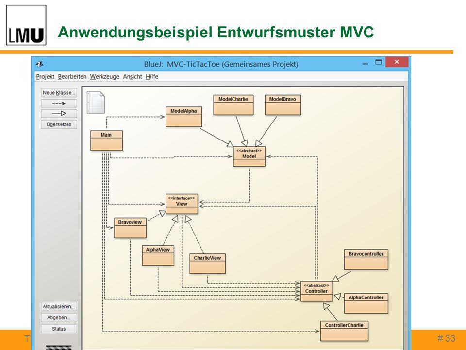 Anwendungsbeispiel Entwurfsmuster MVC # 33 Thomas Rau, Peter Brichzin INFOS 2015, Darmstadt