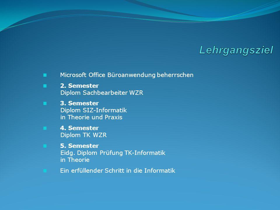 Microsoft Office Büroanwendung beherrschen 2. Semester Diplom Sachbearbeiter WZR 3. Semester Diplom SIZ-Informatik in Theorie und Praxis 4. Semester D