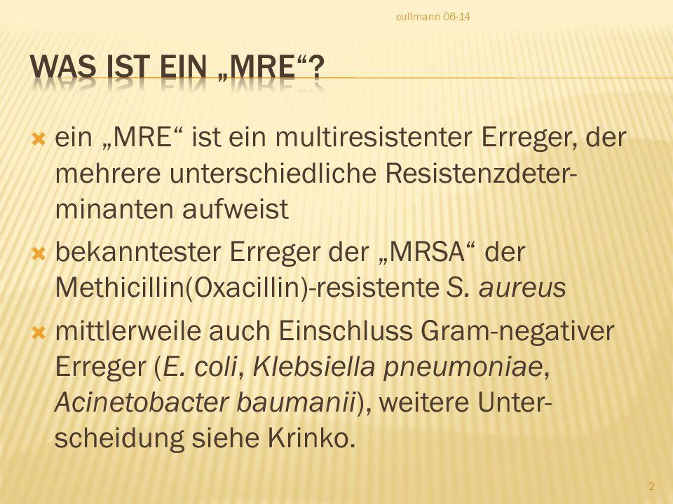 """ ein """"MRE ist ein multiresistenter Erreger, der mehrere unterschiedliche Resistenzdeter- minanten aufweist  bekanntester Erreger der """"MRSA der Methicillin(Oxacillin)-resistente S."""