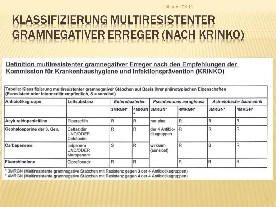  Regel: alle Patienten mit MRGN 4 Erregern sind zu isolieren.