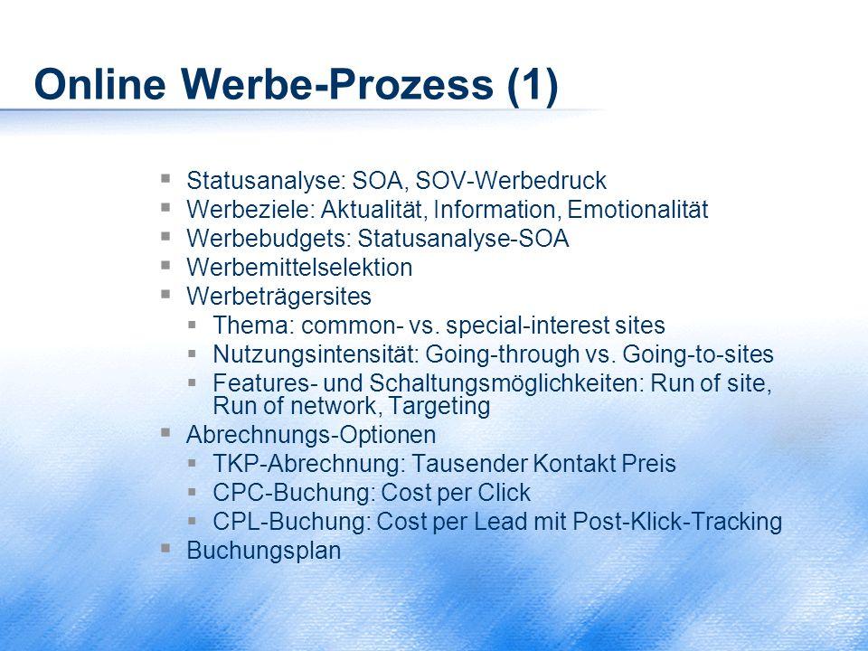 Online Werbe-Prozess (1)  Statusanalyse: SOA, SOV-Werbedruck  Werbeziele: Aktualität, Information, Emotionalität  Werbebudgets: Statusanalyse-SOA 