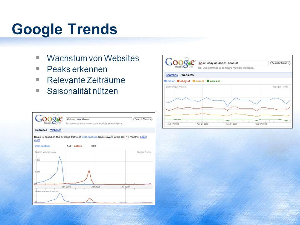 Google Trends  Wachstum von Websites  Peaks erkennen  Relevante Zeiträume  Saisonalität nützen